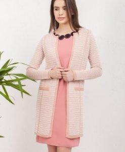 Jacheta roz tricotata cu buzunare 6889 - Jachete -