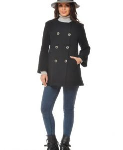 Jacheta scurta din lana ST08 negru - Jachete -