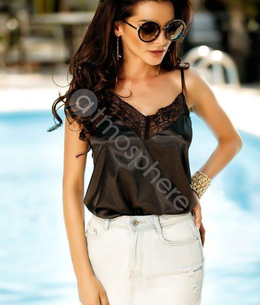 Maiou negru elegant de vara cu detaliu din dantela – BLUZE –