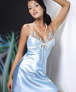 Neglijeu satinat Grace Blue - Lenjerie pentru femei - Neglijeuri de lux