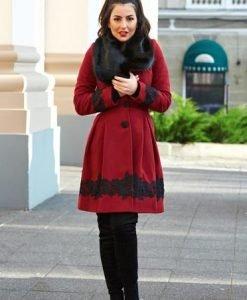 Palton LaDonna Victorian Romance Burgundy - Paltoane -