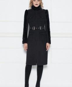 Palton cu detalii din blana ecologica Negru - Imbracaminte - Imbracaminte / Paltoane