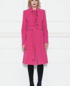 Palton cu detaliu din volane Fuchsia - Imbracaminte - Imbracaminte / Paltoane
