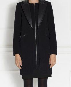 Palton cu insertie din piele Negru - Imbracaminte - Imbracaminte / Paltoane