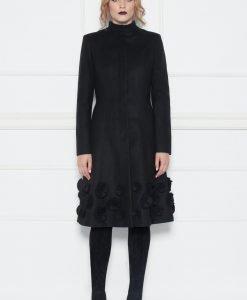 Palton cu insertii cu flori Negru - Imbracaminte - Imbracaminte / Paltoane