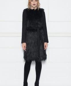 Palton cu insertii din blana sintetica Negru - Imbracaminte - Imbracaminte / Paltoane