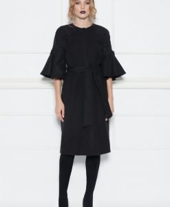 Palton cu maneci tip clopot Negru - Imbracaminte - Imbracaminte / Paltoane