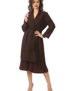 Palton din lana cu cordon C046 mov - Paltoane -