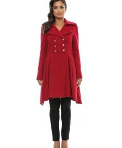 Palton din lana in clos NASTURI rosu - Paltoane -
