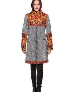 Palton gri cu imprimeu baroc PF05 - Paltoane -
