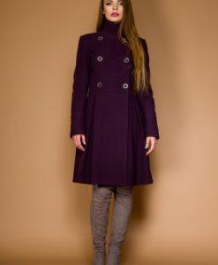 Palton in clos din lana LAURA mov prafuit - Paltoane -