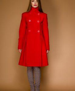 Palton in clos din lana LAURA rosu - Paltoane -
