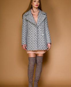 Palton midi gri din stofa LIVIA - Paltoane -