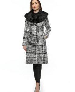 Palton negru cu alb cu guler de blana PF16 - Paltoane -