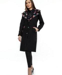 Palton negru din lana cu guler din stofa PF11 - Paltoane -