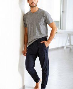 Pantalon de trening pentru barbati Enrico Coveri albastru din bumbac - Lenjerie pentru barbati - Haine de casa