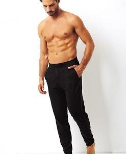 Pantalon de trening pentru barbati Enrico Coveri negru din bumbac - Lenjerie pentru barbati - Haine de casa