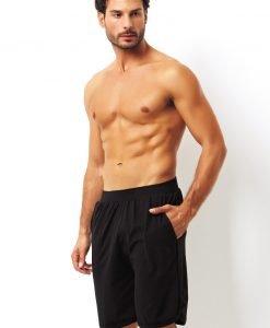 Pantalon scurt negru din bumbac - Lenjerie pentru barbati - Haine de casa