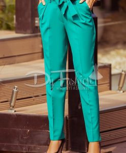 Pantaloni Enido Verde Office Elegant - Haine - Blugi/Pantaloni