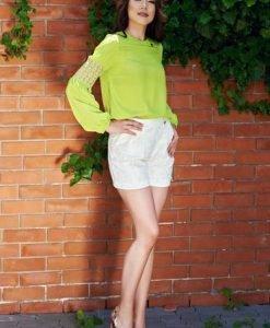 Pantaloni Scurti PrettyGirl Embroidered Nude - Pantaloni scurti -