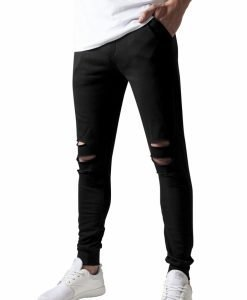 Pantaloni casual cu taieturi la genunchi negru Urban Classics - Pantaloni trening - Urban Classics>Barbati>Pantaloni trening