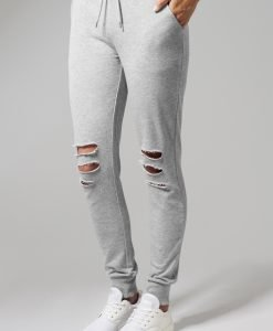 Pantaloni casual cu taieturi la genunchi pentru Femei gri Urban Classics - Pantaloni trening - Urban Classics>Femei>Pantaloni trening