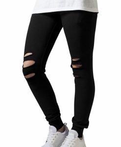 Pantaloni casual cu taieturi la genunchi pentru Femei negru Urban Classics - Pantaloni trening - Urban Classics>Femei>Pantaloni trening