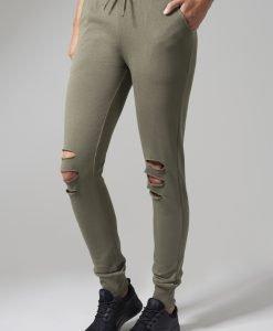 Pantaloni casual cu taieturi la genunchi pentru Femei oliv Urban Classics - Pantaloni trening - Urban Classics>Femei>Pantaloni trening