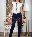 Pantaloni conici bleumarin cu buline mici albe - PANTALONI COLANTI - PANTALONI COLANTI > Pantaloni