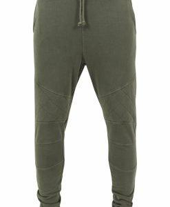 Pantaloni conici cu cusaturi in zona genunchilor oliv Urban Classics - Pantaloni trening - Urban Classics>Barbati>Pantaloni trening