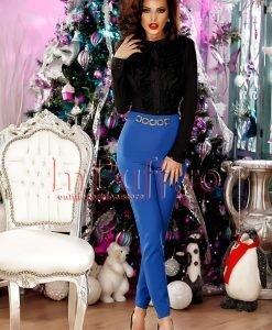 Pantaloni dama albastri cu accesoriu auriu in talie - PANTALONI COLANTI - PANTALONI COLANTI > Pantaloni