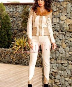 Pantaloni dama bej din piele intoarsa si insertie piele ecologica - PANTALONI COLANTI - PANTALONI COLANTI > Pantaloni