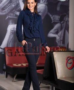 Pantaloni dama bleumarin evazati din tercot - PANTALONI COLANTI - PANTALONI COLANTI > Pantaloni