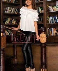 Pantaloni dama din piele ecologica - PANTALONI COLANTI - PANTALONI COLANTI > Pantaloni