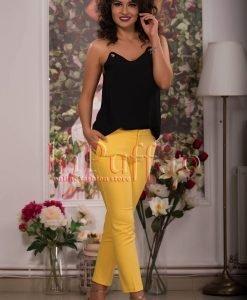 Pantaloni dama galbeni conici - PANTALONI COLANTI - PANTALONI COLANTI > Pantaloni