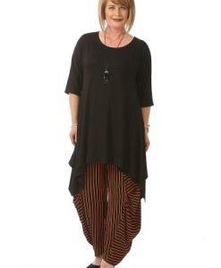 Pantaloni dama in dungi P020-M negru-portocaliu - Marimi mari -