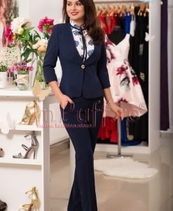 Pantaloni dama office bleumarin cu talie inalta - PANTALONI COLANTI - PANTALONI COLANTI > Pantaloni