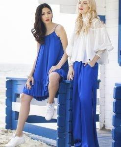 Pantaloni largi albastru electric Alb - Imbracaminte - Imbracaminte / Pantaloni