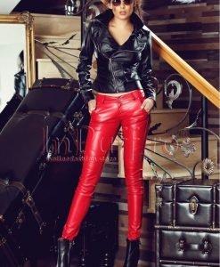 Pantaloni rosii din piele ecologica - PANTALONI COLANTI - PANTALONI COLANTI > Pantaloni