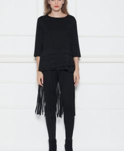 Pantaloni slim cu franjuri Negru - Imbracaminte - Imbracaminte / Pantaloni