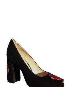 Pantof negri din piele intoarsa naturala cu broderie florala PN12 - Pantofi -