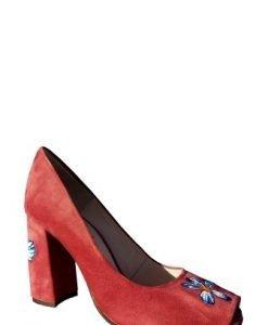 Pantof rosii din piele intoarsa naturala cu broderie florala P13-RO - Pantofi -