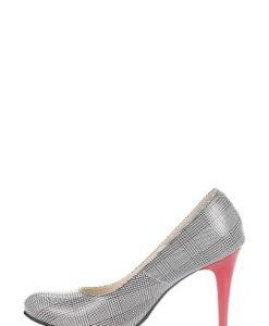 Pantofi alb cu negru din piele naturala imprimata P129 - Pantofi -