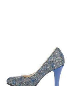 Pantofi albastri din piele naturala imprimata P131 - Pantofi -