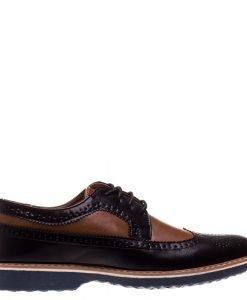 Pantofi barbati Bruno negru cu camel - Incaltaminte Barbati - Pantofi Barbati