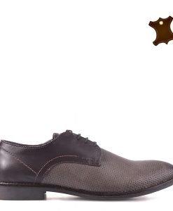 Pantofi barbati piele Ledger gri - Incaltaminte Barbati - Pantofi Barbati