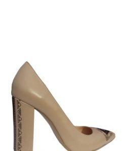 Pantofi bej cu toc gros si imprimeu traditional din piele naturala PN08 - Pantofi -