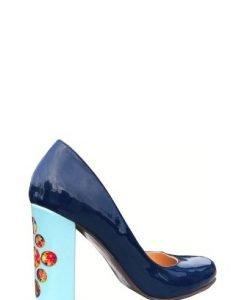 Pantofi casual cu motive florale PN06 albastru/bleu - Pantofi -
