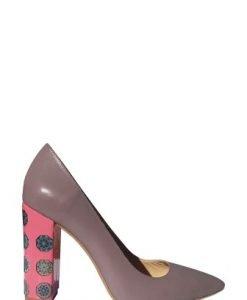 Pantofi cu toc gros cu imprimeu digital PN10 lila-roz - Pantofi -