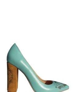 Pantofi cu toc gros si insertii gravate PN09 turcoaz-maro - Pantofi -